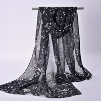 Wholesale Chiffon Neck Scarves - New Spring Lady Womens Chiffon Soft Wrap Music Musical Note Printed Scarf Shawl Stole Neck Hot Sale H5
