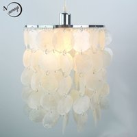 Wholesale Modern Natural Ceiling Lights - Loft modern white natural seashell chandelier ceiling E14 LED shell lighting for dining room living room kitchen bedroom fixture