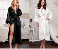 Wholesale Red Elegant Lingerie - 2017 New Sexy Pyjamas Lingerie Satin Sleepwear Silk Robe Soiree Elegant Women Bathrobe Long Dress Nightdress for Party Red Black White