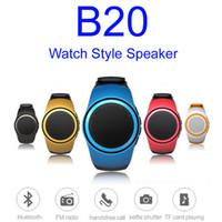 relojes bluetooth altavoz al por mayor-B20 Altavoz Bluetooth Reloj deportivo Música Mini reloj portátil Bluetooth 2.1 + EDR Subwoofer deportivo Tarjeta TF Radio FM Audio Parlantes Reproductor de MP3
