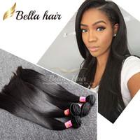 natural hair bundle toptan satış-100% Moğol düz saç örgüleri 4 adet / grup İnsan saç uzantıları Saç Demetleri DHL Ücretsiz kargo doğal renk Bellahair 8A