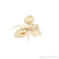 Wholesale Faux Baroque Pearls Wholesale - Cute Gold Leaves Hair Combs Clear Beads Wedding Hair Accessories Cheap Baroque Head Piece UK Cheap Bridal Accessories Free Shipping 2016 New