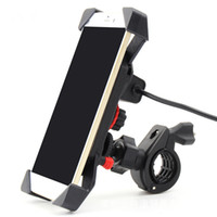 Wholesale Motorcycle Mobile Phone Usb Charger - Motorcycle Cell Phone Mount Holder Charger Mobile Phone Bracket with USB Holder For Phone