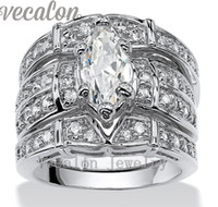 Wholesale Vintage Gold Band Ring - Vecalon Vintage Engagement Wedding band Ring Set for Women Marquise Cut 3ct Cz Diamond 14KT White Gold Filled Party Finger ring