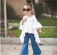 menina ruffle blusa de manga comprida venda por atacado-Varejo 2016 Novas Meninas Bonitos Camisas Brancas Vestido de Algodão Crianças Camisa Longa Blusas de Moda Menina de Manga Curta Encabeça Baby Girl Plissado T-shirt