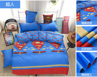 Wholesale Superman Duvet Cover - Free shipping to all country!!! bedding set twin Full Queen size duvet cover set reactive printed bed linen flat sheet bedclothes Superman