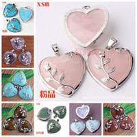 Wholesale 35mm Beads - 11 Colors Elegant Rose Quartz Heart Flower Pendant Bead 34mm*35mm Natural Crystal Heart-Shaped Fit Necklace Making
