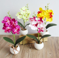 Wholesale Orchid Accessories - Wholesale Four Fork Branch Butterfly Orchid Plant Bonsai Reach Touch Artificial Flowers With Pot Small Cute Bonsais Home Decor Accessories