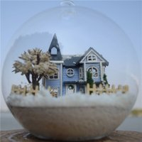 Wholesale Dollhouse Miniature Glasses - Wholesale-DIY Glass Ball Doll House Model Kits With Furniture Handmade Wooden Miniature Assembling Dollhouse Toy Birthday Girls Gifts