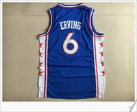 Wholesale Retro Philadelphia - Philadelphia Dr. J #6 Julius Erving College Stitched Embroidery Vintage Sports basketball Uniforms Shirts Retro Vest Mens Team Jerseys Cheap