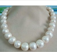 Wholesale Huge Gray Pearls - HUGE 13-15MM SOUTH SEA GENUINE WHITE AKOYA PEARL NECKLACE 14K Gold Clasp