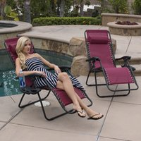 Wholesale Set Burgundy Chair Zero Gravity Folding Lounge Recliner Patio Pool w Tray
