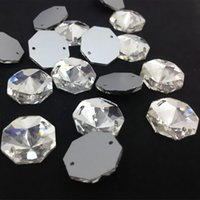 Wholesale 8mm Round Glass Clear Beads - Round Octagon Sew On Stone Crystal Clear Color Flatback 2holes 8mm,10mm,12mm,14mm,16mm,18mm Sewing Glass Crystal Beads Dress