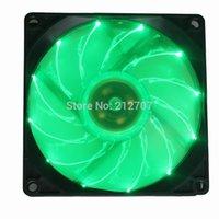 Wholesale green led fan - Wholesale- 2Pcs Green 15 LED PC Computer Case Brushless Cooling Fan 92mm 92x25mm 9225S DC 12V 3Pin Cooler