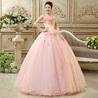 Wholesale Strapless Tulle Ball Gown Embroidery - Vestido De Noiva 2016 Sweet Pink Flower Beading Sleeveless Quinceanera Dresses Sexy Prom Ball Gown Plus Size Party Formal Dress