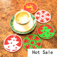 Wholesale glass hot pads for sale - Group buy Hot Christmas decorations west glass table mat Coffee cup mat disc pad insulation pad Christmas gifts B0757
