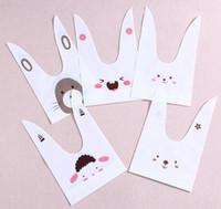 kaninchen-plätzchen großhandel-50 teile / paket niedlichen kaninchen ohr cookie taschen selbstklebende Plastiktüten für Kekse Snack Backpaket lebensmittel tasche