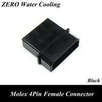 Wholesale female terminal - Wholesale- Black Molex 4Pin Female Power Connector + 5pcs Free Terminal Pins