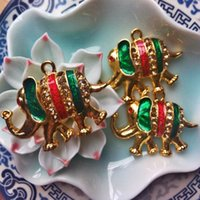 Wholesale Thailand Amulets - [produced] bell into the copper gilt single elephant enamel Thailand amulet accessories DIY beads accessories