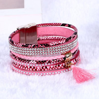 Wholesale Christmas Wrap Sold Wholesalers - Unisex Fashion Sell Hot Charm Bracelets Weaving Multilayer Leather Bracelets Women Gift Wrap Charm Boho Bohemian Bangle