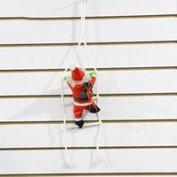 Wholesale Christmas Indoor Wall Decorations - Christmas Ornament Hanging Ladder SANTA Claus Toy Windows Doors Walls Pendant Christmas Decoration Christmas Gift 60*14cm
