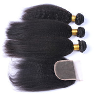 Wholesale yaki human hair sale resale online - Hot Sale A Kinky Straight Human Hair With Closure Free Middle Part Italian Coarse Yaki Lace Closure With Bundles