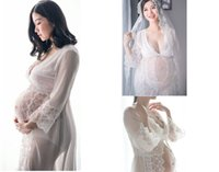 Wholesale Pregnancy Lace Long Dresses - New White Maternity Lace Dress Pregnant Photography Props Fancy Pregnancy maternity photo shoot long dress Nightdress
