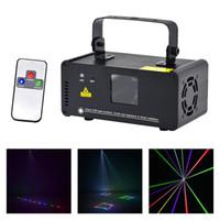 dmx 512 uzaktan toptan satış-AUCD IR Uzaktan DMX 512 Mini 400 mW RGB Tam Renkli Lazer Sahne Aydınlatma Tarayıcı DJ Dans Parti Gösterisi Projektör Işıkları DM-RGB400