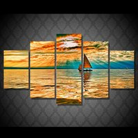 Wholesale Oil Paint Sailboat - 5Pcs Set HD Printed Sunset Sailboat Seascape Painting Canvas Print room decor print poster picture canvas abstract paintings