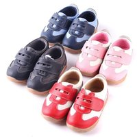 Wholesale Wholesale Childrens Sneakers - Childrens Shoes Baby Boys Sneakers Soccers Girls Sneakers Children Leather Shoes Pink Red Black Navy Genuine Leather Flexible Sole