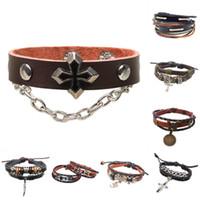 Wholesale mens leather infinity bracelet - Leather Bracelet For Women Mens Infinity Bracelets Handmade Charms Bracelet & Bangles