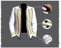 Wholesale Stage Clothing Gold - 2016 New Fashion Brand Men Blazers Jacket Coat White gold Male singer Dj Stage performance clothing