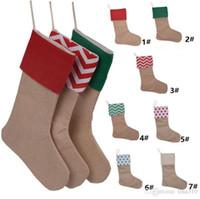 Wholesale Linen Socks - 12*18inch 2017 New high quality canvas Christmas stocking gift bags Xmas stocking Christmas decorative socks bags 4543