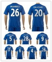 Customized 16-17 mens 26 Soccer Jersey Mahrez Sets, discount pas cher Outdoor 17 SIMPSON Football Porter des uniformes, 9 Vardy Football Maillots KITS Porter