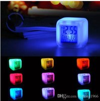 Wholesale glow clocks - Square Alarm Clock Discolored Digital LED Light Up Timer Glowing In The Dark Plastic Clocks For Living Room 7 3cr R