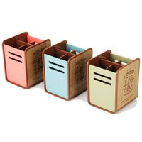 lápices decorativos al por mayor-Al por mayor-Papeleria Vintage novedad Pen Holder Desk Stationery Holder Envases de plástico decorativos Caja de almacenamiento Plastic Pencil Pots