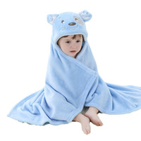 Wholesale Hot Girl Bath Boy - Hot 2 Color Supper Soft Velvet Cute Animal Shape Cartoon Baby Kids Hooded Bath Towel Toddler Boy Girls Bathrobe Suit all Seasons