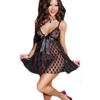 Wholesale Transparent Skirt Thong - Women Erotic Lingerie Vintage Dot Spaghetti Strap Lace Sleepwear Transparent Nightwear Vestidos Feminino Fantasias Sexy Pyjamas Thong 2PCS