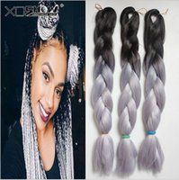 Wholesale 24 Hair Extensions Dark Red - Kanekalon Jumbo Braid Hair 24inch 60cm 100g Black Dark blue Grey Red Ombre two tone color xpression synthetic big Braiding hair extensions