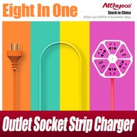 Wire USB Charger Plug 8 In 1 Multifunction Lemon Outlet Socket Strip Chargeur Station Pour Iphone 7 plus Samsung s7 Ipad