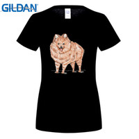 Wholesale Black Pomeranian - Women Pomeranian dog short sleeve T-shirt White