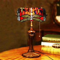 Wholesale Vintage Stained Glass Table Lamp - Nice Bank of the Republic Tiffany Desk Light Vintage Mediterranean Blue Glass Dragonfly Table Lamp Bedroom