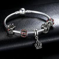 charme armband armbänder zum verkauf großhandel-2016 heißer Verkauf Luxus 925 Silber Crown Charm Bangle DIY Schmuck für Frauen Fit Original Armbänder Pulseira Geschenk
