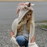 Strickmütze Für Bausatz Kaufen -Neue Kinder Einhorn Winter Hüte und Schal 2 in 1 Infant Warme Strickmütze Caps Quaste Scaves 2in1 Kit