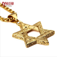 "Wholesale Vintage Star David Pendant - 2016 Punk Hip Hop Vintage Mysterious 316 Stainless Steel Jewish Star Of David Pendants 27.5"" Cuban Chain Judaica Israel Necklace"