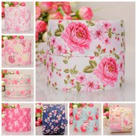 "Wholesale Pink 38mm Ribbon - 38mm 1 2"" pink flowers printed gift hairbow grosgrain ribbon tape 50yards lot"