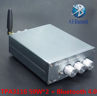 Wholesale 12v Audio Power Amp - Freeshipping Newest BL10A TPA3116 Bluetooth 4.0 Hifi Audio Digital Power Amplifier 50W+50W 12V Finished Amplificador Home AMP