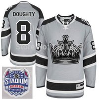 Sconto 2014 Stadio Serie LA Kings Hockey Maglie # 8 Drew Doughty Jersey Argento Cenere Grigio Los Angeles Kings Stitched Maglie