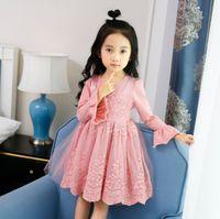 Wholesale pink twinset - 2017 new design baby girls autumn dress lace princess dress faux twinset design with petal long sleeve skirt kids dress
