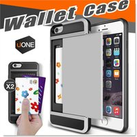 Wholesale Iphone Rubber Shell Case - For IPhone 7 Plus cases Shockproof Wallet Case Card Pocket Anti scratch Protective Shell Rubber Bumper Case with Slide Card Holder Slot